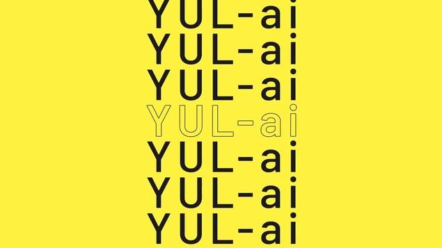 Le texte « YUL-ai », répété plusieurs fois sur un fond jaune.
