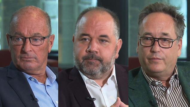 Les visages des trois candidats durant une entrevue.