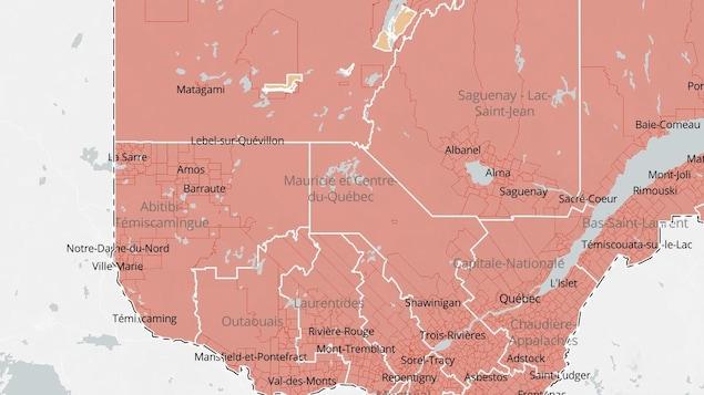La carte indique que toutes les régions du Québec sont en zone rouge.