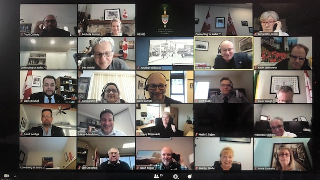 Une photo d'un écran d'ordinateur où se tient une vidéoconférence de parlementaires du Canada.