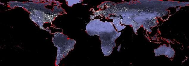 Cette image montre en rouge les régions qui disparaissent sous les eaux si le niveau des océans monte de 6 mètres.