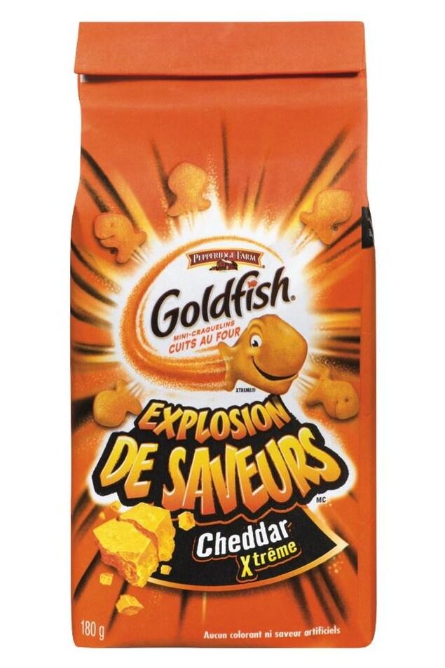 Un sac de craquelins Goldfish, de type Explosion de saveurs - Cheddar Xtrême.