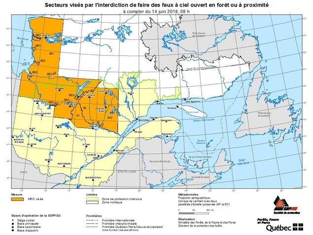 La carte des secteurs où l'interdiction de feux à ciel ouvert est en vigueur.