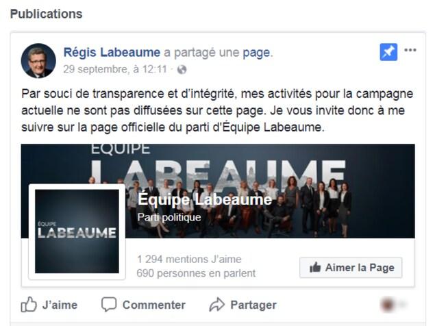 Page Facebook officielle de Régis Labeaume