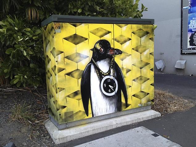 Une oeuvre de l'artiste néo-zélandais Paul Walsh, originaire de la ville de Rotorua.
