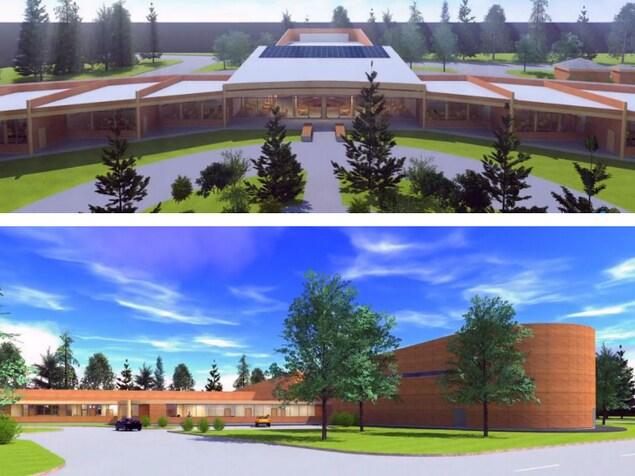 Dessin architectural de la future école de la communauté.