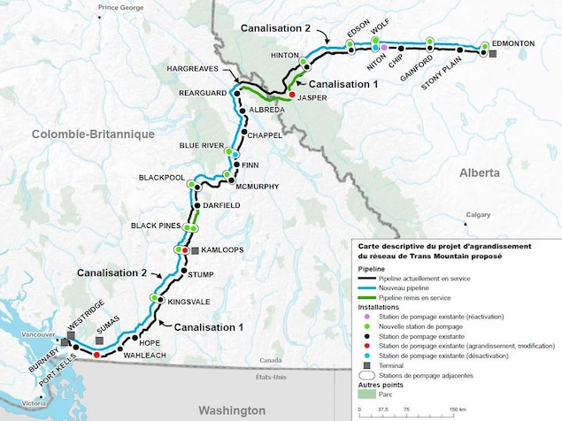 Carte du projet d'expansion du pipeline Trans Mountain.