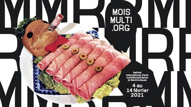 Affiche du festival Mois Multi. Bonhomme allongé construit avec des aliments tel que jambon, olives, et une tête en pain.