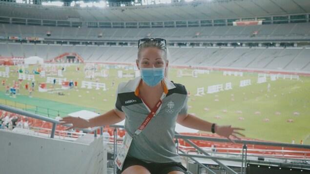 La journaliste Marie-Eve Potvin raconte la préparation qui a eu lieu pour l'épreuve du pentathlon au stade olympique.