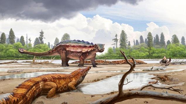 Représentation artistique de l'Akainacephalus johnsoni dans son milieu naturel.