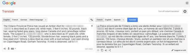 Une capture d'écran de la traduction du message de la PPO faite à l'aide de Google Translate.