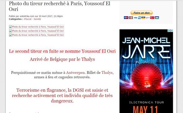Capture d'écran du site Wikistrike en lien avec l'attaque terroriste des Champs-Élysées.