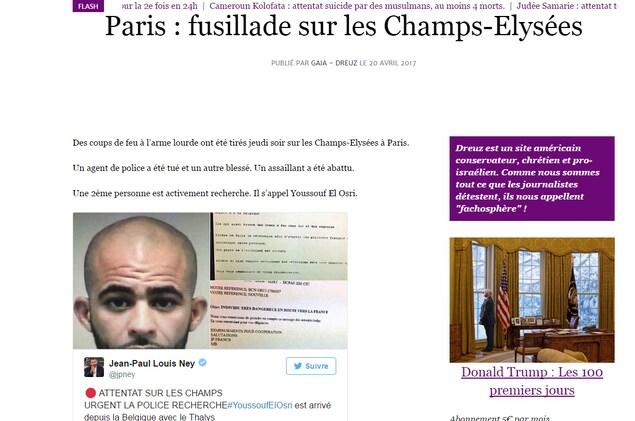 Capture d'écran d'un article du site Dreuz à propos de l'attaque des Champs-Élysées.