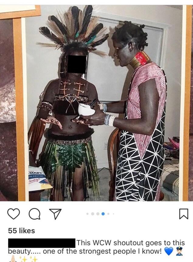 Une capture d'écran d'un montage photo mis en ligne sur Instagram montre une d'une femme  blanche couverte de maquillage noir et habillée de manière caricaturale