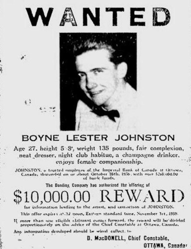 Une affiche datant de l'époque où Boyne Johnston était recherché. La récompense est de 10 000 dollars.