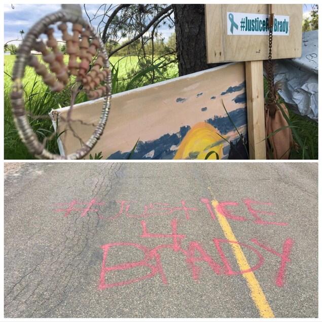 Un graffiti au sol demandant justice pour Brady et un autocollant demandant justice pour Brady.