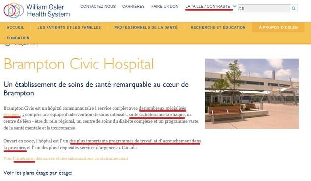 Une capture d'écran du site web