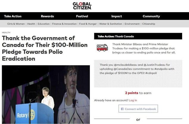 La campagne est intitulée : «remerciez le gouvernement du Canada pour son financement de 100 M$ visant à éradiquer la polio». Dans une boîte à droite, on invite l'utilisateur à «agir» en tweetant le message.