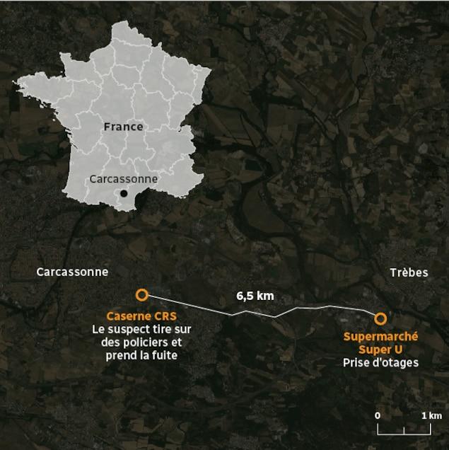 Carte de Carcassonne et de Trèbes.