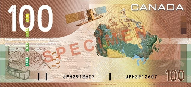 Spécimen de billet de 100 $ avec un canot autochtone, la carte du Canada, un satellite et une tour à radar.