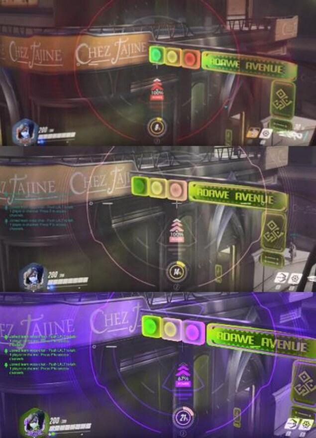Trois captures d'écran du jeu vidéo Overwatch avec différents modes pour les joueurs daltoniens qui modifient les couleurs et le rendent plus vives.