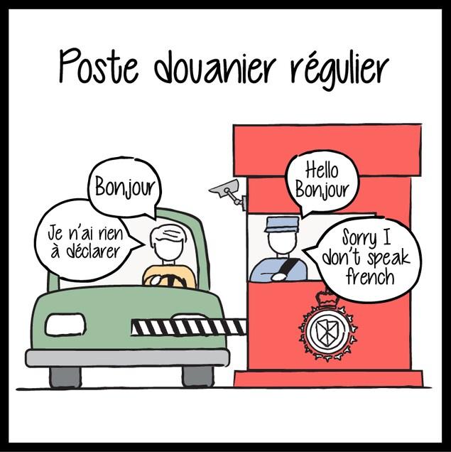 Dessin d'un automobiliste qui essaie de parler en français à un douanier qui répond en anglais.