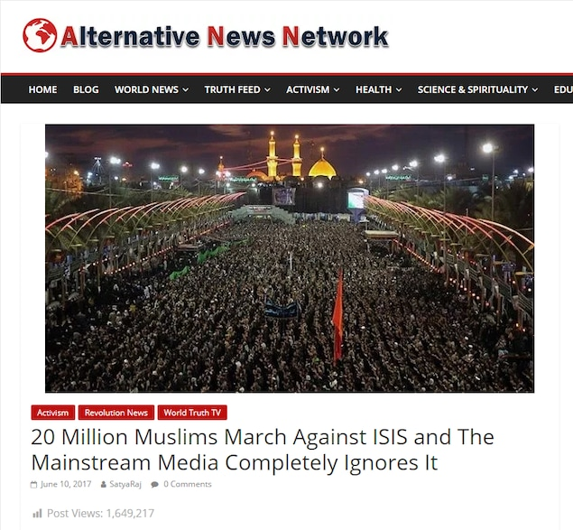 On voit une photo de milliers de personnes réunies dans une rue. Le titre affirme que «Quelque 20 millions de musulmans manifestent contre l'EI, et les médias de masse n'en parlent pas». C'est faux.