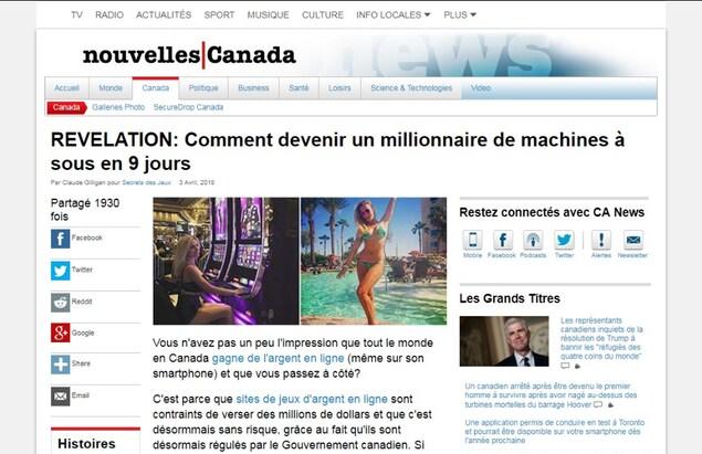 On voit un article en anglais intitulé «RÉVÉLATION : Comment devenir millionnaire de machines à sous en 9 jours». Le site ressemble beaucoup à celui de CBC.