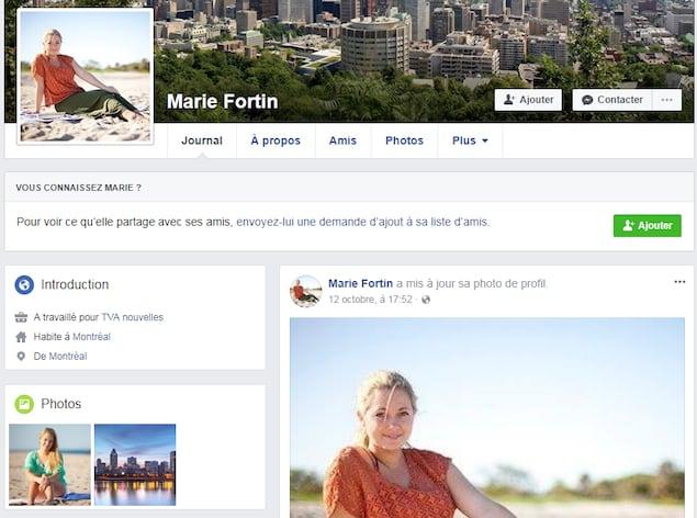 Dans le profil, on voit une photo d'une jeune femme blonde. Elle indique avoir travaillé pour TVA Nouvelles.