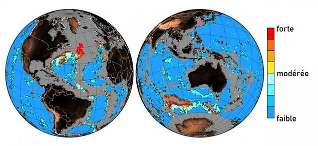 Les zones les plus frappées par la détérioration du fond marin.