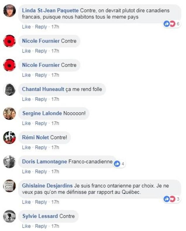 Huit internautes expriment leur opposition à l'expression «francophone hors Québec».