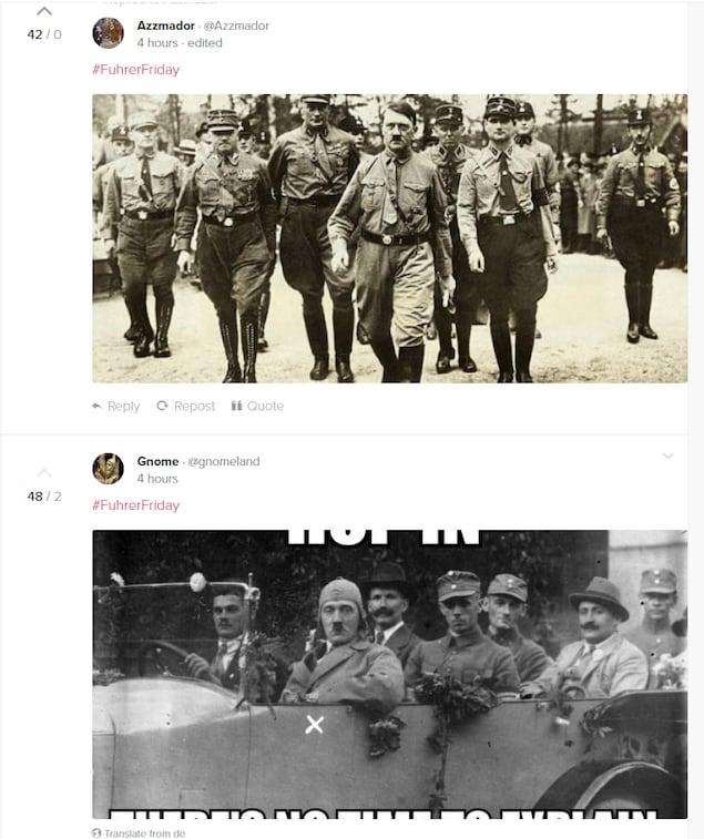 Page «populaire» de Gab, où les deux premières publications sont des photos d'Adolph Hitler.