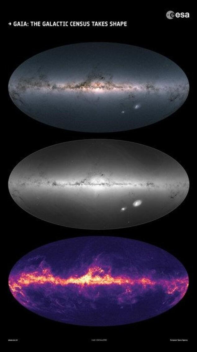 Ces images sont basées sur les observations effectuées par le satellite de l'ESA dans chaque partie du ciel entre juillet 2014 et mai 2016. Elles ont été publiées dans le cadre de la deuxième diffusion des données de Gaia le 25 avril 2018.