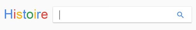 Capture d'écran modifiée de Google, où le logo Google est remplacé par le mot «Histoire».