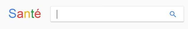 Capture d'écran modifiée de Google, où le logo Google est remplacé par le mot «Santé».