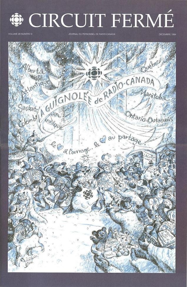 Illustration montrant des personnages festoyant sous la neige pour la guignolée de Radio-Canada