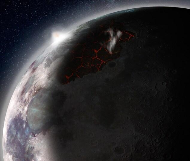 Représentation artistique de la Lune au début de son évolution.
