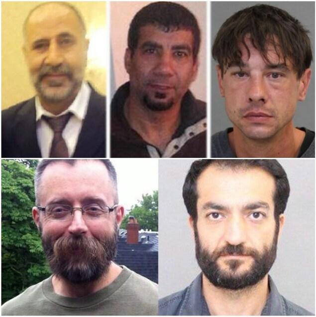 Photo en mosaïque des 5 victimes présumées.