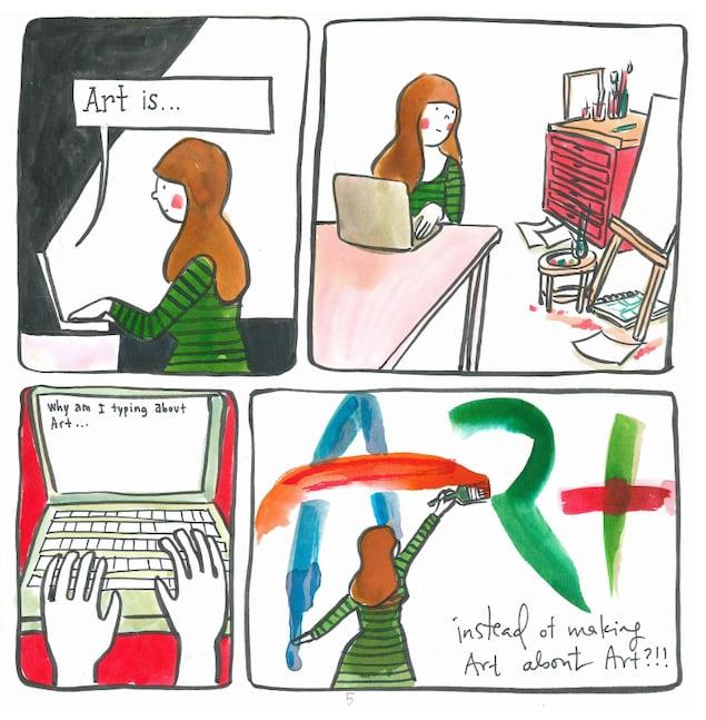Une bande dessinée présente une femme qui se questionne sur la façon de parler de l'art.