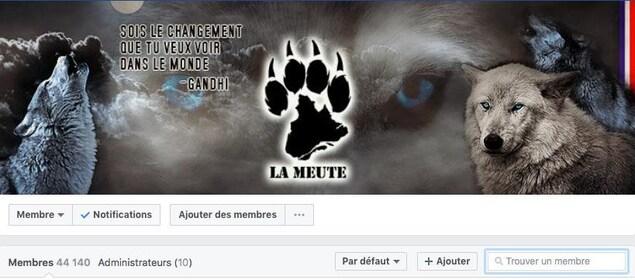 L'entête de la page Facebook secrète de La Meute.