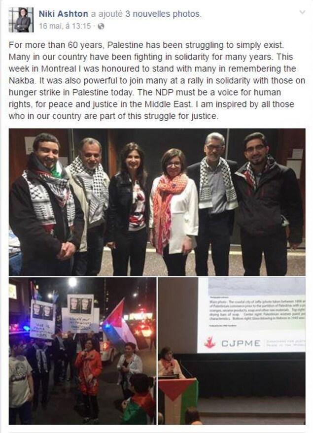 Le message et les photos publiés par la députée néo-démocrate Niki Ashton (quatrième à partir de la gauche) sur sa page Facebook.