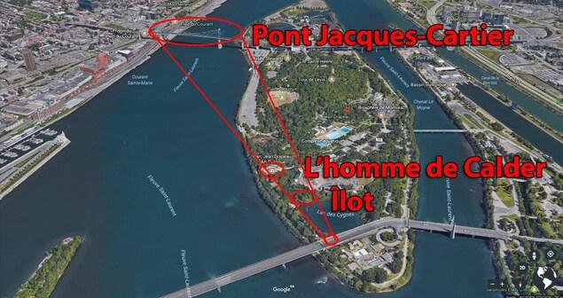 Sur ce plan en vue d'oiseau de Google Earth, on voit les mêmes repères visuels. Le seul endroit où on peut voir tout ces éléments dans un même plan de vue se trouve sur le pont de la Concorde, dans le bas de l'image.