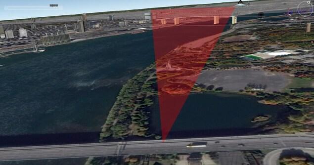 Ce plan de vue nous permet de déterminer que l'angle de la caméra masquait la surface pavée non loin du site.