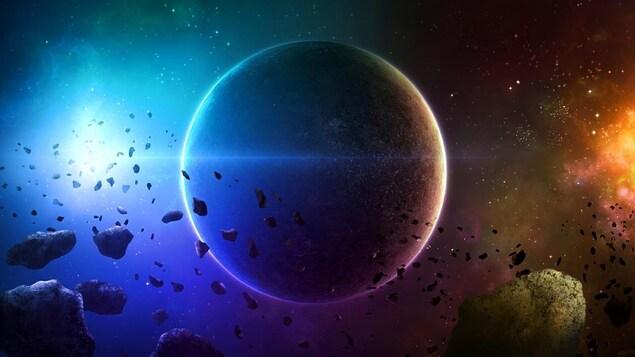 Représentation artistique d'une planète et d'astéroïdes au moment de la formation d'un système solaire.