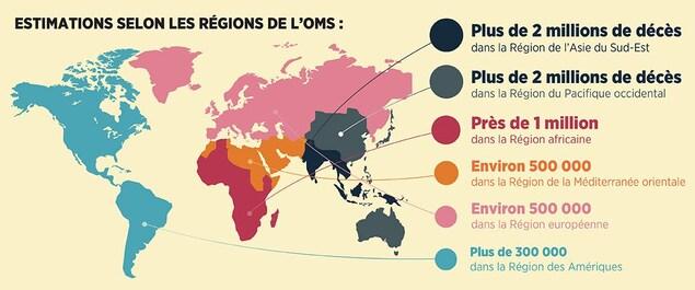 Carte des pays le plus pollués.