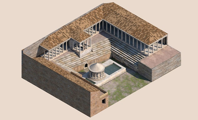 Reconstitution d'un temple romain avec une porte des Enfers