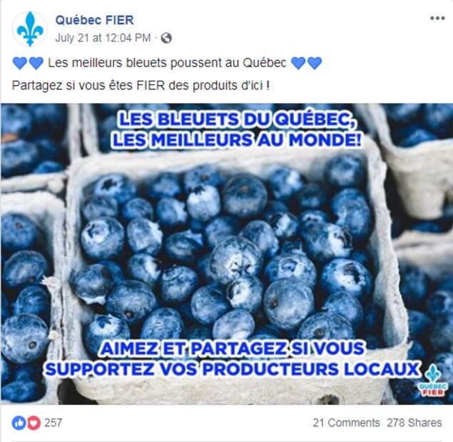 La publication contient une image de bleuets. «Les meilleurs bleuets poussent au Québec. Partagez si vous êtes fier des produits d'ici», est-il écrit.