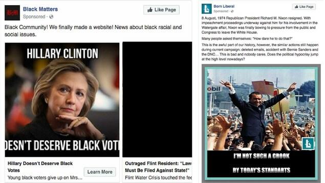 Dans la publicité de gauche, nous voyons une photo d'Hillary Clinton avec un texte décourageant les Noirs de voter pour elle. Dans celle de droite, on voit une photo de l'ancien président américain destitué, Richard Nixon. On tente de faire un parallèle entre lui et Mme Clinton.