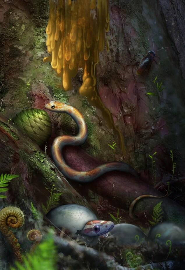Un serpent blanc et orange rampe sur un tronc d'arbre pendant qu'un autre légèrement violet sort sa tête d'une coquille d'oeuf.