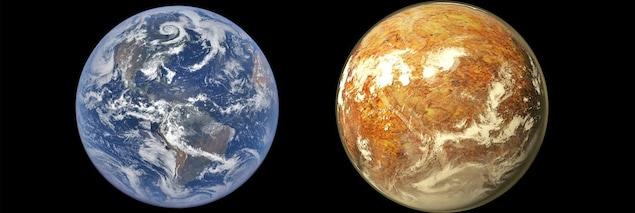 Comparaison de la grosseur de la Terre et de Proxima b.